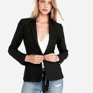 NEW NWT One-Button Blazer Solid Black Stretch $128